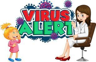 poster di allarme virus con medico e bambino vettore
