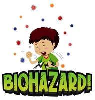 tema di rischio biologico con tosse ragazzo vettore