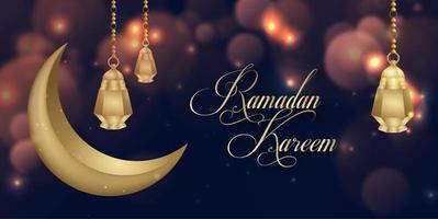 incandescente ramadan kareem islamico social media banner design di sfondo