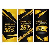 raccolta di banner vendite d'oro vettore