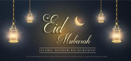 lanterne d'ardore eid mubarak royal banner di lusso sullo sfondo
