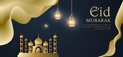 oro e blu eid mubarak royal banner di lusso sullo sfondo