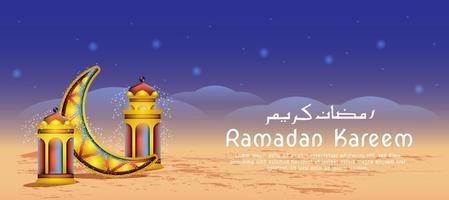 celebrazione del Ramadan lanterna e luna vettore