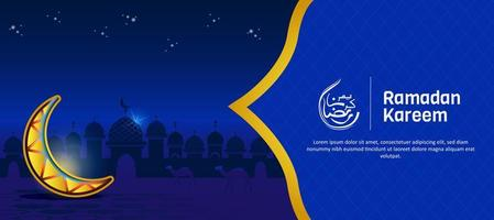 banner lanterna ramadan blu e oro vettore