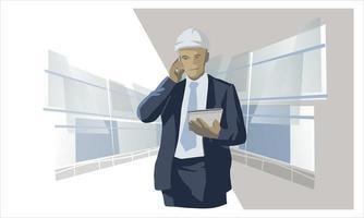 uomo d'affari con cappello duro bianco vettore