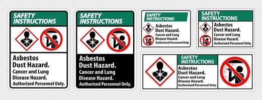 etichette delle istruzioni di sicurezza