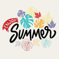 goditi l'estate scritte con foglie illustrazione