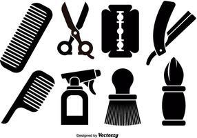 Icone degli strumenti del barbiere vettore