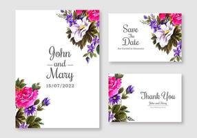 set di carte di invito matrimonio floreale rosa e viola
