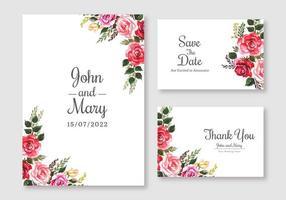 set di carte di nozze floreale colorato