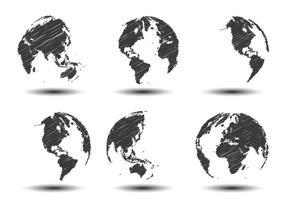 Schizzi i vettori della mappa del mondo