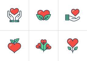 Icone piane di vettore del cuore piatto