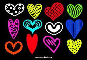 Sagome di cuore disegnato a mano vettore