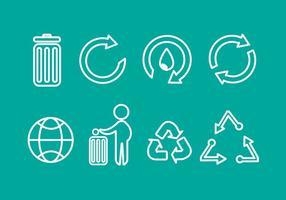 cestino riciclare icone vettoriali