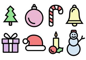 Vettore libero del pacchetto delle icone di Natale