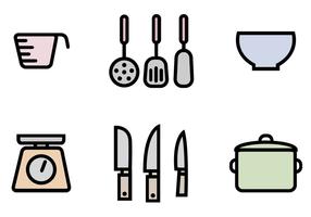 Vettore libero del pacchetto delle icone della cucina