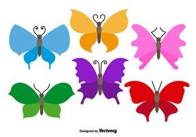 Vettori di farfalle colorate piatte