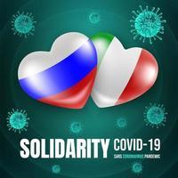 cuori con poster di coronavirus bandiera russa e italiana vettore