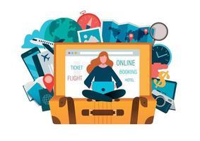 l'acquisto di biglietti concetto di viaggio online