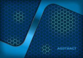 modello esagonale blu brillante con forma ad angolo sovrapposta vettore