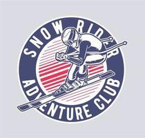 emblema di sciatore con il testo del club avventura snow rider vettore