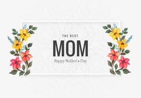 felice festa della mamma carta con fiori decorativi