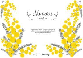Fondo di vettore di mimosa disegnato a mano