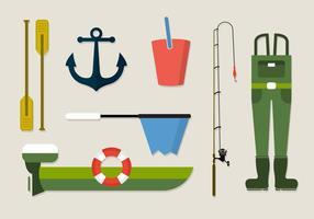 Raccolta di vettore dell'attrezzatura per l'abbigliamento da pesca