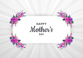 carta festa della mamma con cornice floreale ad acquerello vettore