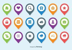 Set di icone vettoriali Pin mappa