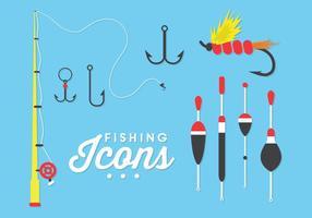 Illustrazione delle icone di pesca nel vettore