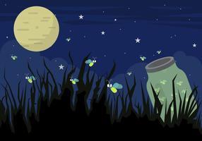 Illustrazione degli insetti della lucciola alla notte nel vettore
