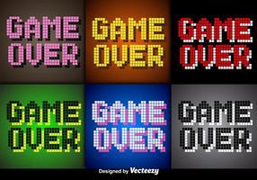 Vector Pixel Game Over Screens per videogiochi