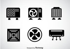 Vettore nero delle icone del sistema di HVAC