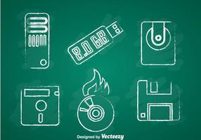 Icone di gesso di memorizzazione digitale