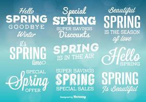 Etichette tipografiche di primavera vettoriale
