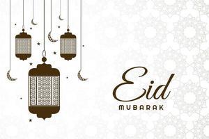 eid mubarak marrone appeso sfondo di lanterne