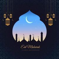 eid mubarok carta islamica silhouette finestra sullo sfondo