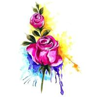 rose con sfondo colorato splash vettore