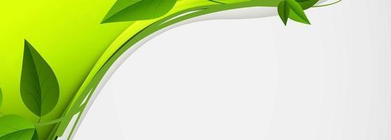 banner di onda verde astratto foglie di vite vettore