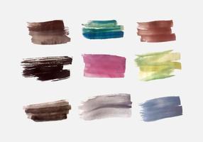Pacchetto di pennellate colorate e colorate vettore