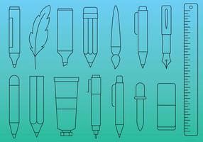 Icone di linea di penne e strumenti
