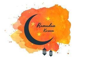 luna di Ramadan Kareem sulla spruzzata dell'acquerello arancione