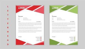 carta intestata aziendale di forma angolo rosso e verde vettore