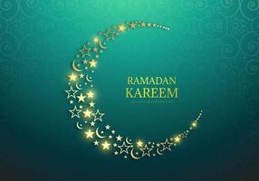 Ramadan Kareem incandescente luna e stelle sul verde