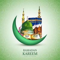 luna di Ramadan Kareem e disegno disegnato a mano della moschea