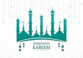 Siluetta della moschea verde blu di Ramadan Kareem