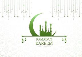 Moschea verde e luna sfondo ramadan
