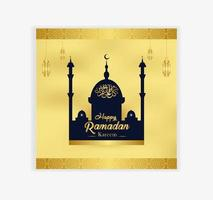 moschea e lanterna d'oro ornato ramadan card