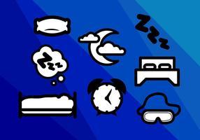 Vettore delle icone di notti di sonno del materasso